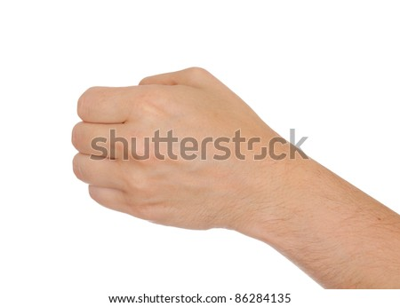 Hand of a caucasian male to hold hammer, bunch of flowers or other tool, isolated on white - stock photo