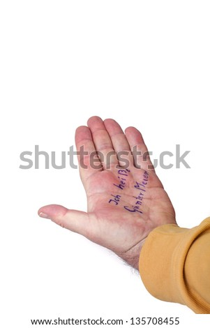 Hand of a dementia with his name - stock photo
