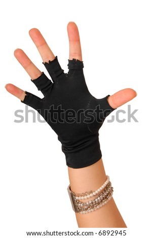 hand of a girl in black glove counting five - stock photo