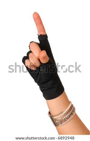 hand of a girl in black glove counting one - stock photo