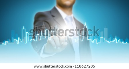 Hand of a girl touching - stock photo
