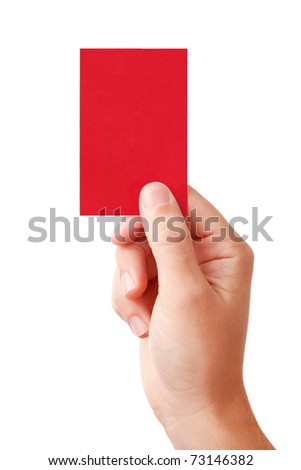 Hand of a judge showing negative decision symbol - red card, isolated on white background - stock photo