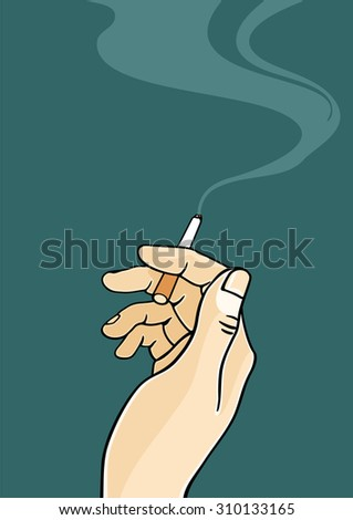 Hand of a man holding a cigarette (raster version) - stock photo