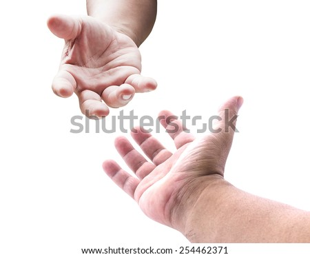 Hand of a man reaching to hand of GOD. Isolated on white background. - stock photo