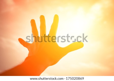Hand of a man reaching to towards sunshine sky. Color toned image.  - stock photo