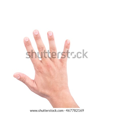 hand of a man showing five count on white background