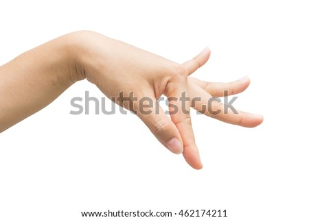 Hand of a woman dancing Thailand isolate white background