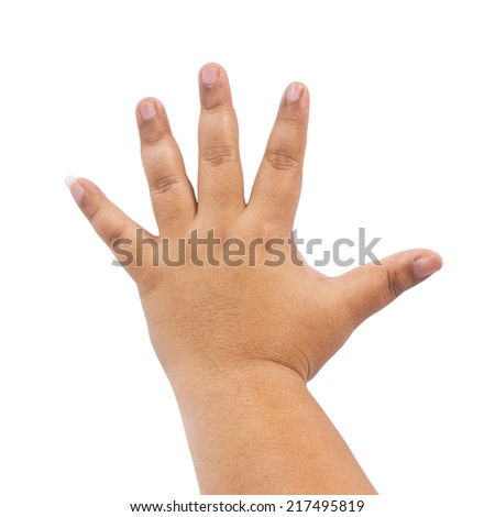 Hand of a woman on white background