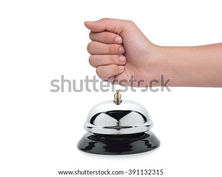 Hand of a woman using a bell isolated on white background