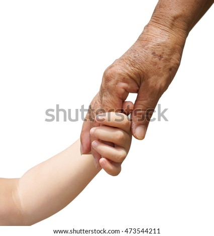 hand of a young baby touching old hand of the elderly isolated