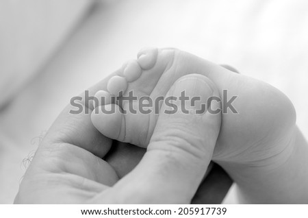 Hand of a young father touch his newborn baby foot (4 week old).(BW) copyspace,  Concept photo of newborn, baby, mother, motherhood, parenting and lifestyle - stock photo