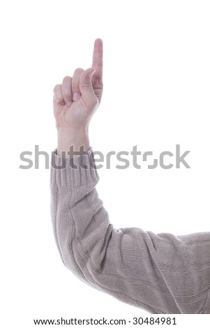 Hand of a young man pointing away over white background