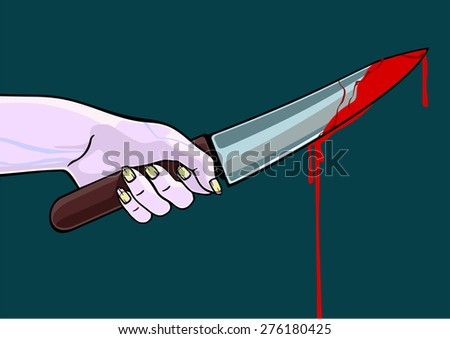 Hand of a zombie with blooded knife (raster version) - stock photo
