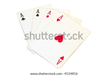 Hand of Aces - Four of a Kind - stock photo