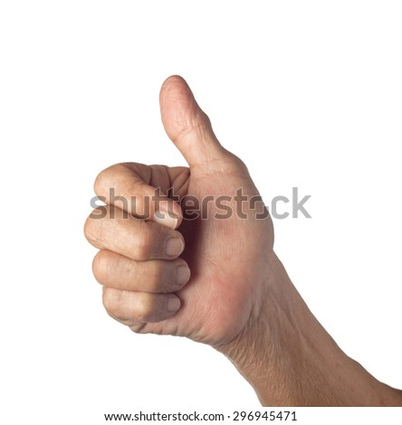 Hand of an elderly person showing the good sign isolated on white background