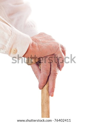 hand of an old man in white, with isolated background