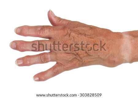 Hand of an old woman, close-up, isolated - stock photo