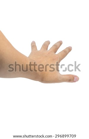 Hand of Asian man's open hand isolated on white