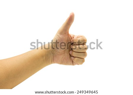Hand of Asian man's show thumb up isolated on white - stock photo
