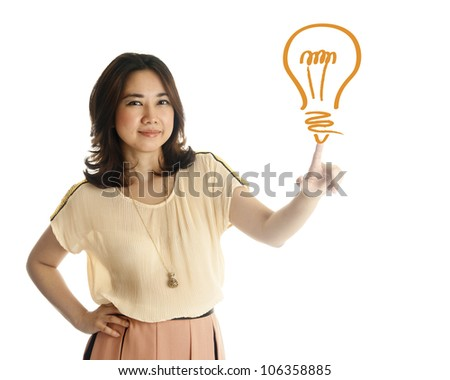 Hand of asian young woman pushing on a light bulb drawing, isolated