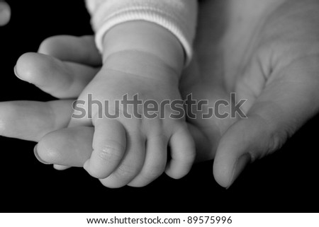 Hand of baby in the adult hand