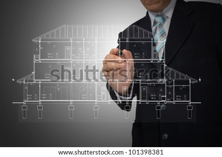 Hand of Business Man Draw architect or home plan