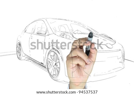 Hand of business man draw modern car - stock photo