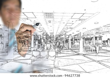 Hand of business man draw visual interior design - stock photo