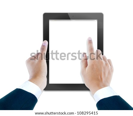 hand of business man holding and touching on touch pad - stock photo
