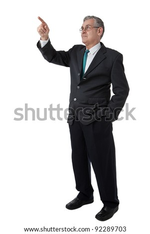 hand of business man pushing a button on a touch screen interface - stock photo