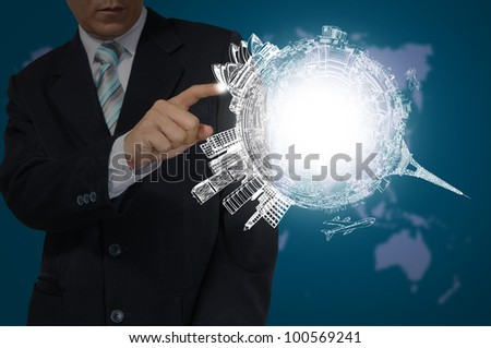 Hand of Business Man Touch Drawing Earth Globe. - stock photo