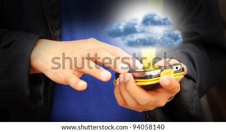 Hand of business man touch screen of mobile phone present cloud computing