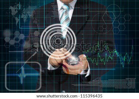 Hand of Business man touch smart phone with virtual digital interface or environment - stock photo