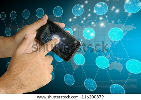 Hand of Business man touch smart phone with virtual digital network interface or environment - stock photo