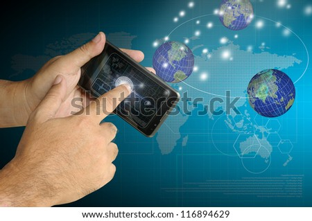 Hand of Business man touch smart phone with virtual digital network interface or environment. Elements of this image furnished by NASA - stock photo