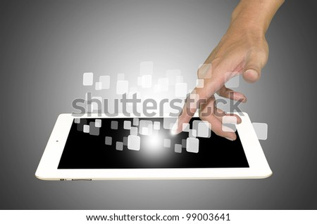 Hand of Business Man touch touch screen of white tablet pc - stock photo