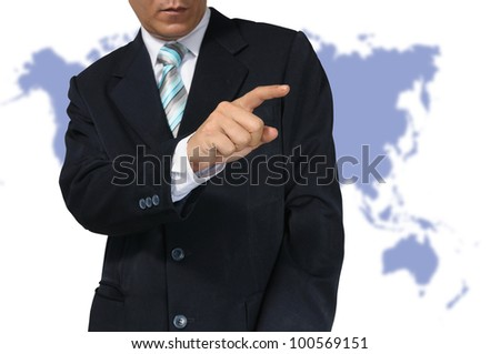 Hand of Business Man touch Transparent PC interface on white background