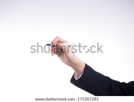 Hand of business man with pen isolated on white background