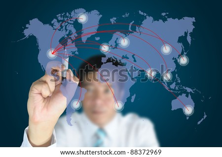 Hand of business man write a business graph on tablet pc touch screen