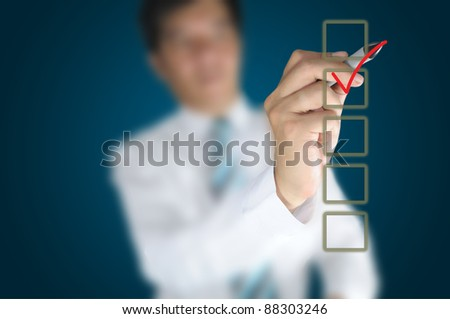 Hand of business man write a choice - stock photo