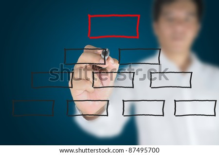 Hand of Business man write blank diagram on touch screen