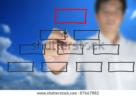 Hand of Business man write blank diagram on touch screen - stock photo