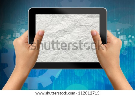 Hand of business woman holding digital tablet with blank paper screen - stock photo