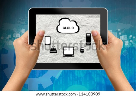 Hand of business woman holding digital tablet with network Plan screen - stock photo