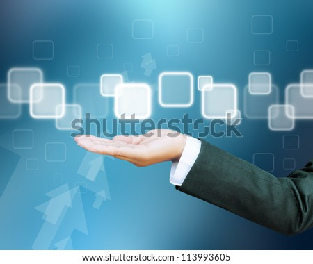 hand of business women pushing a button on a touch screen interface - stock photo
