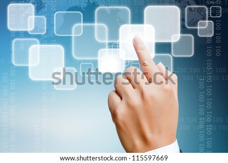 hand of business women pushing a button on a touch screen interface