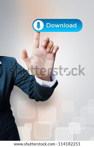 hand of business women pushing a download button a touch screen interface - stock photo
