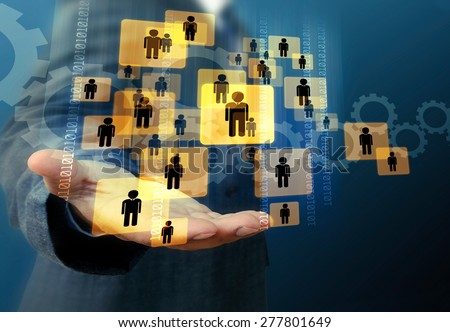hand of businessman and social network  - stock photo