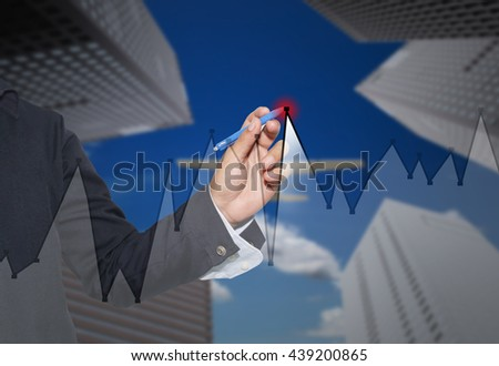 Hand of businessman drawing graphics a top point growing graph to concept of profit in business and have skyscraper background.