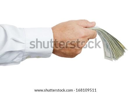 hand of businessman holding money isolated on white background - stock photo